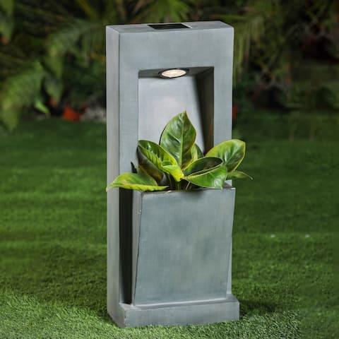 Smooth Stone Finish Angled MgO Planter with Solar Light
