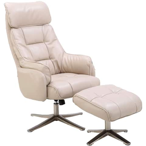 Hanover Parker PU Leather Office Chair with Ottoman in Cream