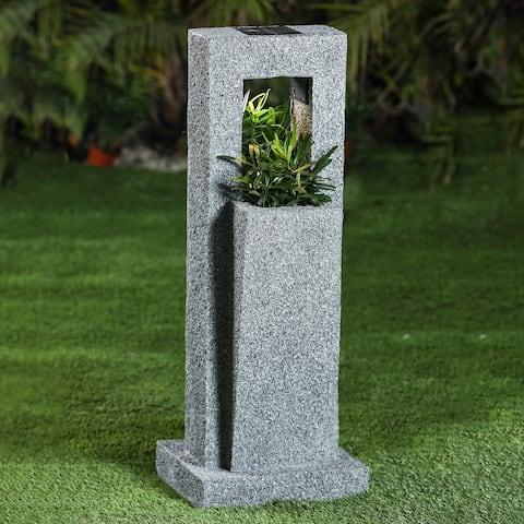 Stone Finish Column MgO Planter with Solar Light