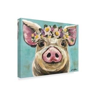Hippie Hound Studios 'Pig Rosie Flower Crown 3' Canvas Art