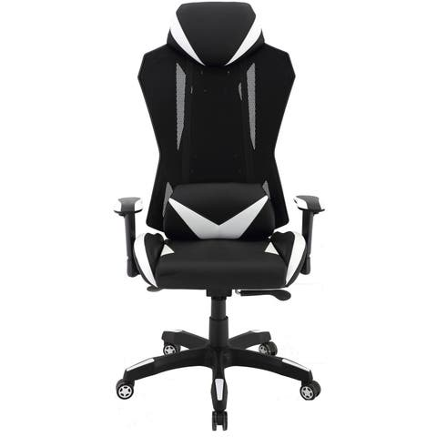 Hanover Commando Ergonomic High-Back Gaming Chair in Black and White with Adjustable Gas Lift Seating and Lumbar Support