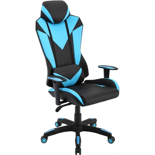 Hanover Commando Ergonomic High-Back Gaming Chair in Black and Electric Blue with Adjustable Gas Lift Seating and Lumbar Support