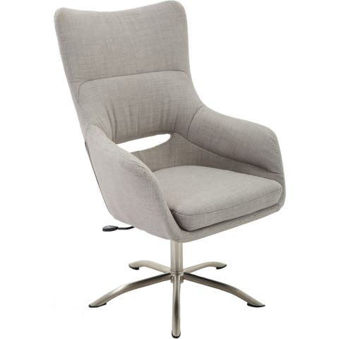 Hanover Carlton Wingback Stationary Office Chair in Taupe with Adjustable Gas Lift Seating and Chrome base