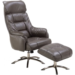 Hanover Parker PU Leather Office Chair with Ottoman in Dark Gray