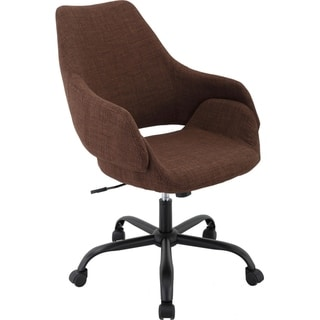 """Hanover Everson 17.75-20.75"""" Gas Lift, Wheeled Office Chair in Chocolate"""