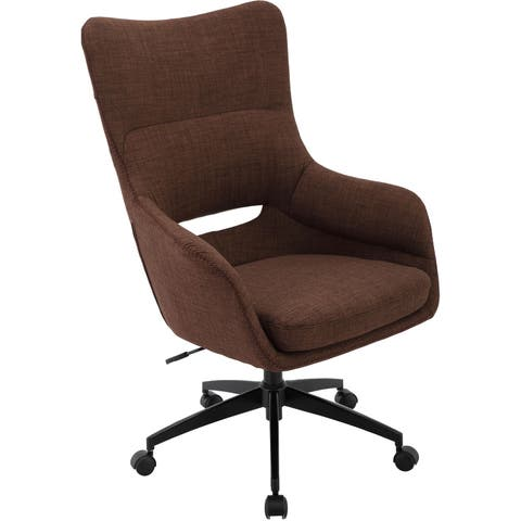 Hanover Carlton Wingback Office Chair in Chocolate Brown with Adjustable Gas Lift Seating, Caster Wheels, and Chrome base