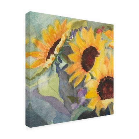 Sandra Iafrate 'Sunflowers In Watercolor I' Canvas Art