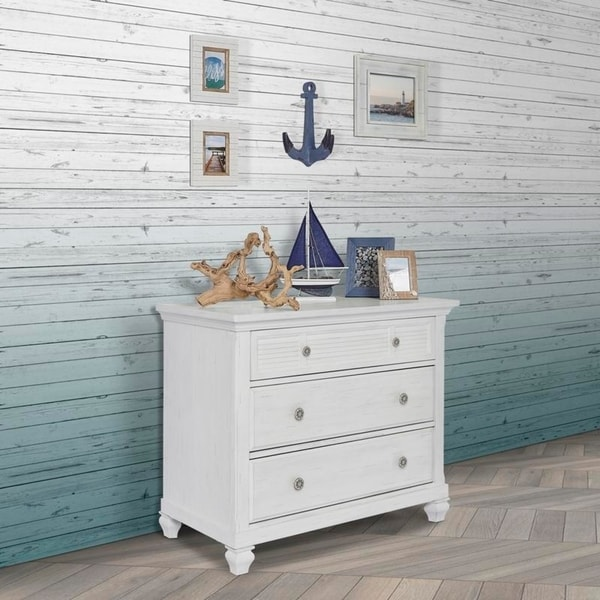 Evolur Signature Cape May Three Drawer Chest, Weathered White. Opens flyout.