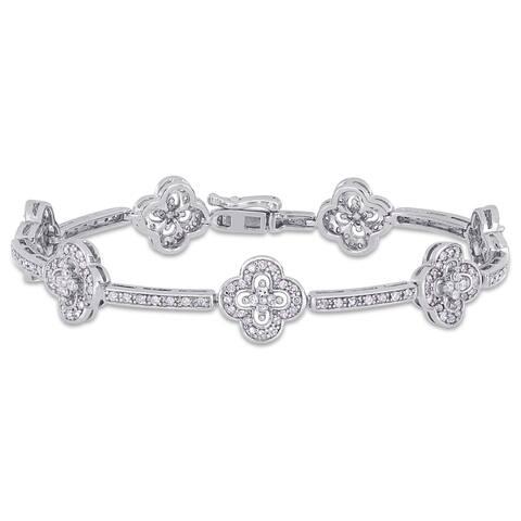 Miadora Sterling Silver 2ct TDW Diamond Quatrefoil Station Tennis Bracelet