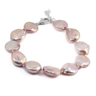 Michael Valitutti Palladium Silver Coin Shape 12.5mm Pink Pearl Bead Bracelet