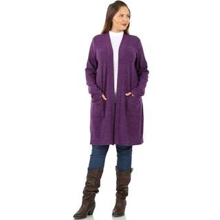 JED Women's Plus Size Marled Knit Cardigan with Pockets