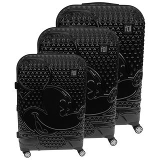 Ful Disney Textured Mickey Mouse 3 Piece Luggage Set, Black