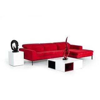 Divani Casa Clayton Modern Red Fabric Sectional Sofa