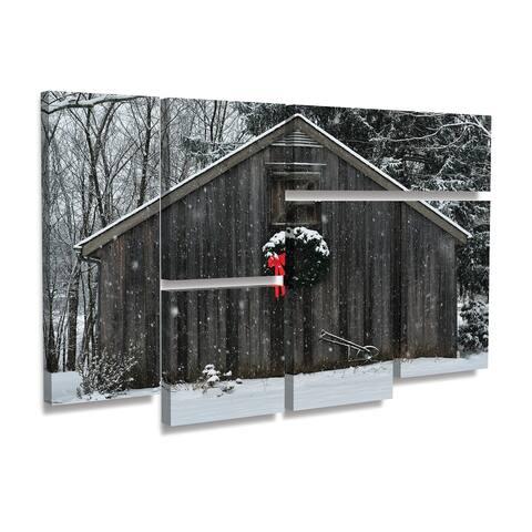 Kurt Shaffer 'Christmas Barn in The Snow' Multi Panel Art Set 6 Piece