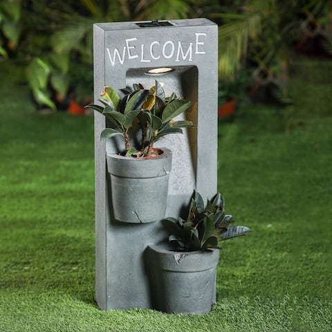 Welcome Two Pot Planter Station with Solar Light