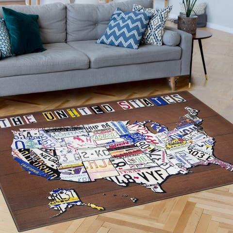 America United States License Plate Map Non-Slip Indoor Outdoor Area Rug Carpet - 5' x 7'