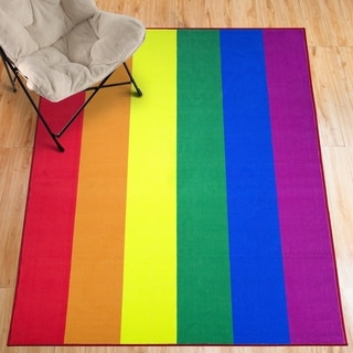 Pride Rainbow Colorful Flag LGBTQ Non-Slip Indoor Outdoor Area Rug Carpet - 5' x 7'