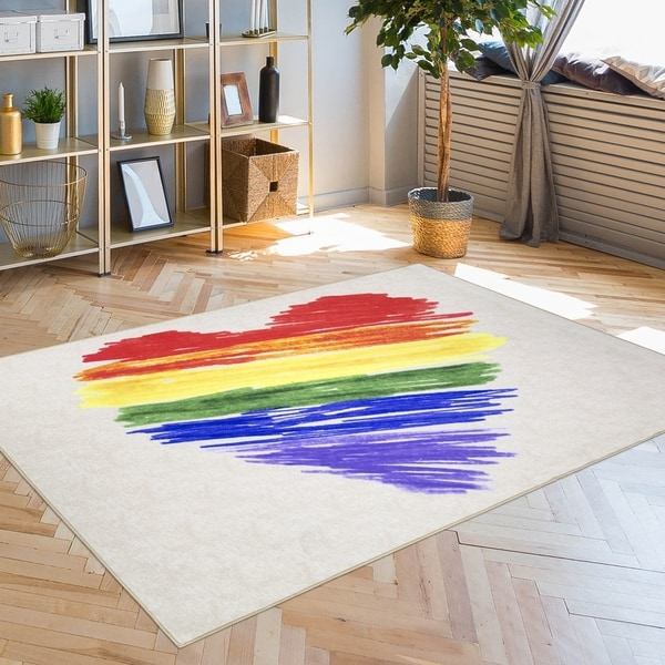 Pride Rainbow Colorful Brushstroke Heart LGBTQ Non-Slip Indoor Outdoor Area Rug Carpet - 5' x 7'