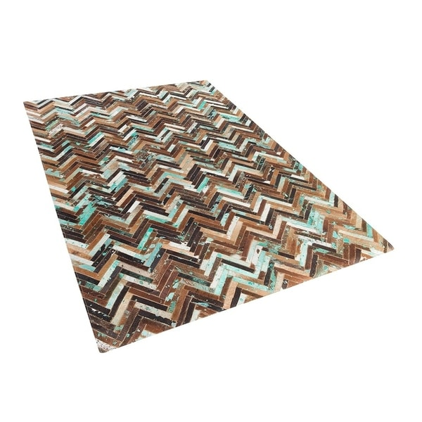 Leather Area Rug 4.6 x 6.6 ft Brown Blue AMASYA