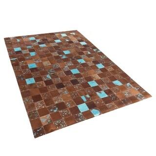 Cowhide Area Rug 4.6 x 6.6 ft Brown Blue ALIAGA