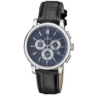 Charmex of Switzerland Luxury Kyalami Men's Watch - 41 mm Swiss Made Alarm Chronograph - Black Genuine Leather Strap CX-2069