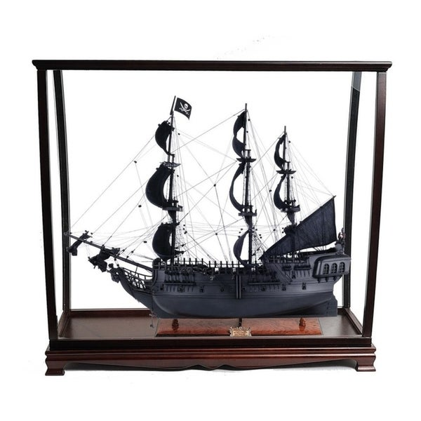 Black Pearl Pirate Ship Large With Table Top Display Case