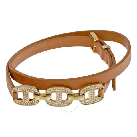 MICHAEL KORS Maritime Gold-Tone and Brown Leather Strap