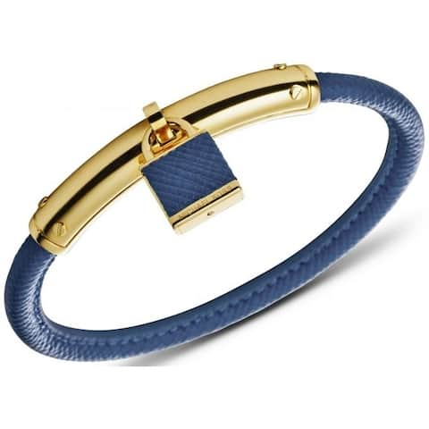 Michael Kors Heritage Padlock Blue Leather/Gold Bracelet