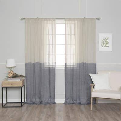 Aurora Home French Linen Voile Colorblock Single Curtain Panel