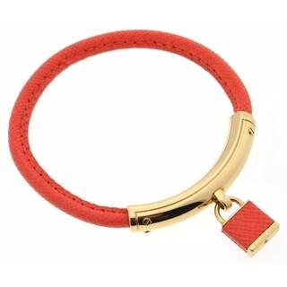 Michael Kors Heritage Padlock Orange Leather/Gold Bracelet