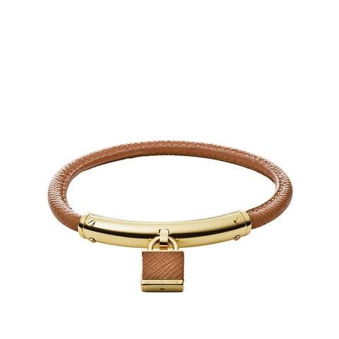 Michael Kors Heritage Padlock Brown Leather/Gold Bracelet