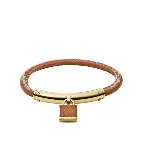 5558f3f6cd0f9 Shop Michael Kors Heritage Padlock Brown Leather Gold Bracelet - Free  Shipping Today - Overstock - 25070605