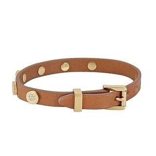 Michael Kors Leather Gold Pave Heritage Logo Bracelet Luggage