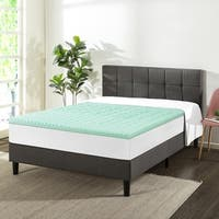1.5 Inch 5 Zone Memory Foam Bed Topper Aloe Infused Cooling Mattress Pad - Crown Comfort