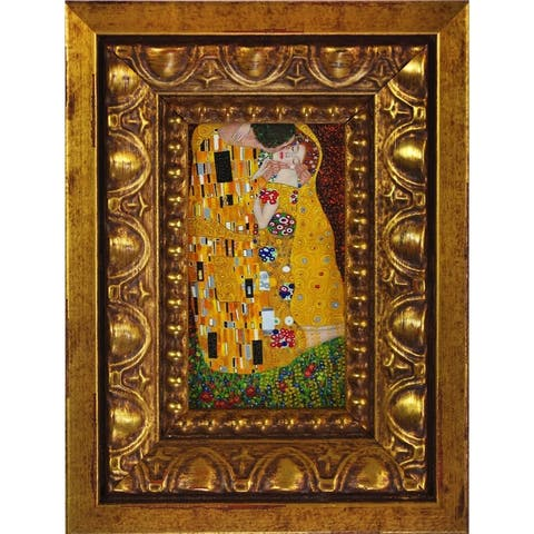 """The Kiss (Full View) by Gustav Klimt with Versailles Frame Miniature Wall Art, 8.5""""x6.5"""""""