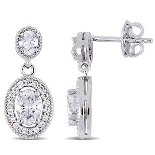 Miadora Signature Collection 14k White Gold 1-1/2ct TDW Diamond Graduated Oval Halo Dangle Earrings