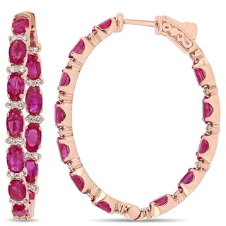 Miadora 14k Rose Gold Oval-Cut Ruby and 5/8ct TDW Diamond Inside-Outside Hoop Earrings
