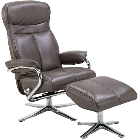 Hanover Paterson Swivel Lounge Chair with Ottoman in Dark Gray