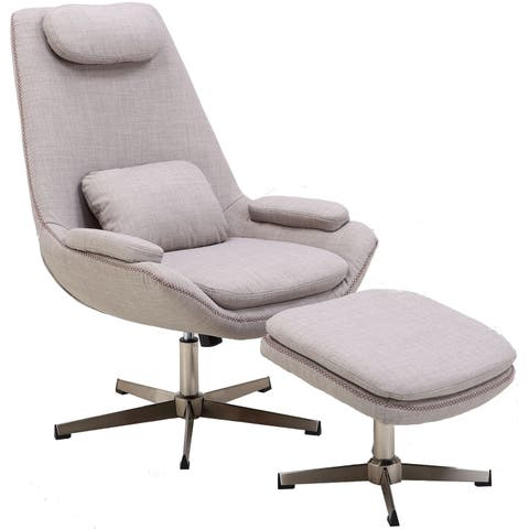Hanover Westin Mid-Century Modern Scoop Lounge Chair and Ottoman in Taupe