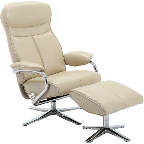 Hanover Paterson Swivel Lounge Chair with Ottoman in Cream