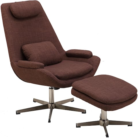 Hanover Westin Mid-Century Modern Scoop Lounge Chair and Ottoman in Chocolate Brown