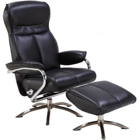 Hanover Paterson Swivel Lounge Chair with Ottoman in Black