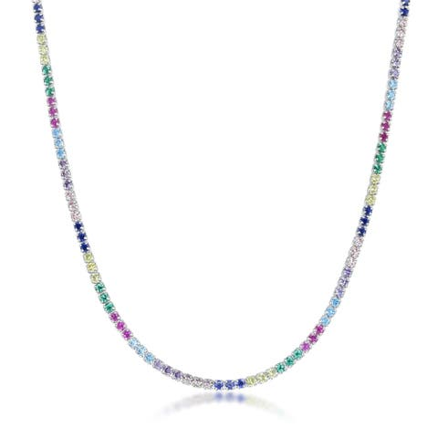 La Preciosa Sterling Silver or Gold Plated Rainbow CZ 12+3'' Choker