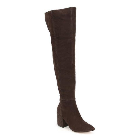 Jessica Simpson Womens Pumella Chocolate Leather Over-the-knee Pointed Toe Boot