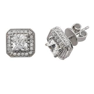 14k White Gold 1 1/2ct TDW Princess Cut Halo SolitaireDiamond Earrings