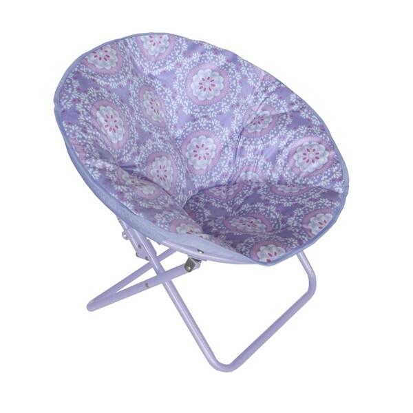 Medallion Printed Faux-Fur Saucer Chair