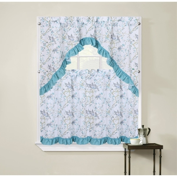 Regal Home Collections Birds and Blossom 3-Piece Tier Curtain and Swag Valance Set - 54 w x36 l inches