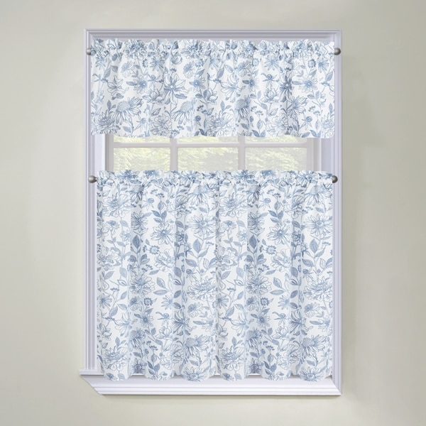 Regal Home Collections Amelia Floral 3-Piece Tier Curtain and Valance Set - 60 w x36 l inches