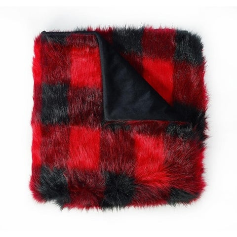 Buffalo Plaid Fauxfur Throw Blanket for Couch or Sofa