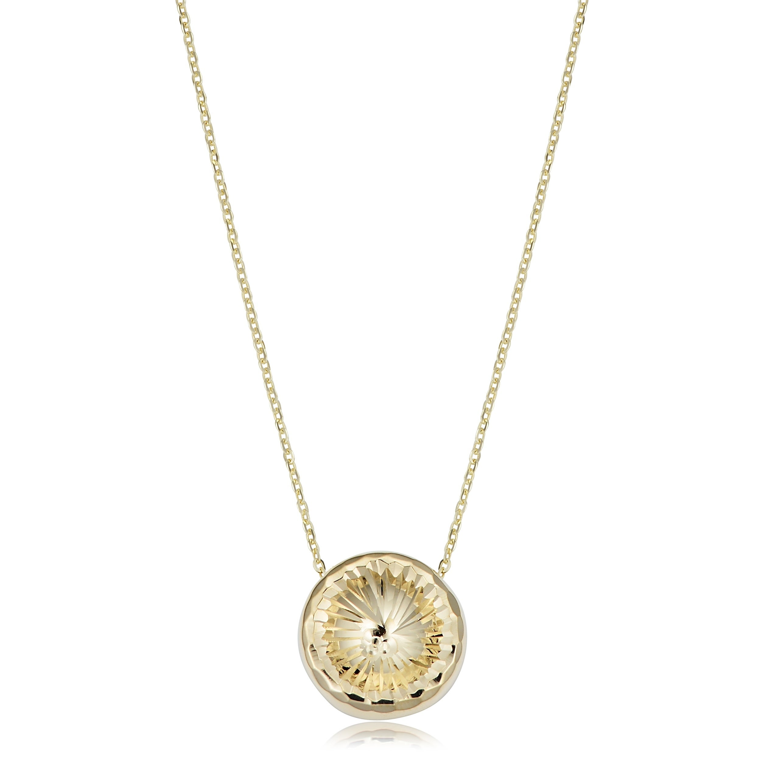 Shop 14k Yellow Gold Diamond Cut Round Pendant Adjustable Length Necklace Adjusts To 17 Or 18 Inches On Sale Overstock 25072958